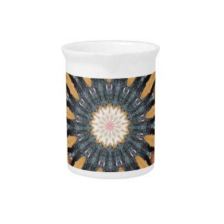 Floral Kaleidoscope Art Mosaic Orange Black White Pitcher