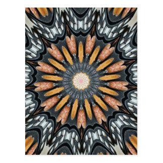 Floral Kaleidoscope Art Mosaic Orange Black White Postcard