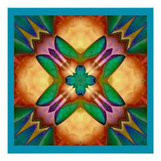 Floral Kaleidoscope Blue Orange Green Purple Poster