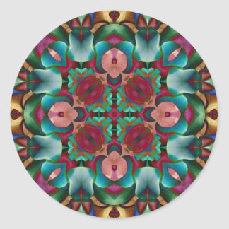 Floral Kaleidoscope Blue Orange Green Purple Round Sticker