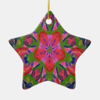 Floral kaleidoscope design image ceramic star decoration