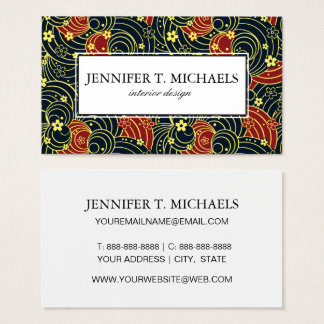 Floral Kimono Pattern in Night Colors Business Card