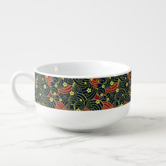 Floral Kimono Pattern in Night Colors Soup Bowl With Handle
