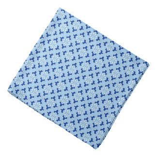 Floral kimono print, indigo and pastel blue bandana