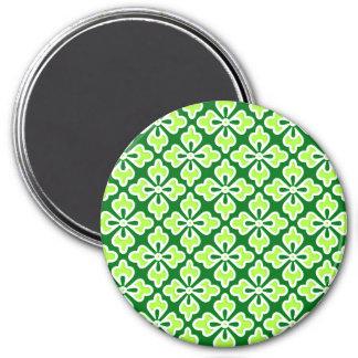 Floral kimono print, lime and pine green fridge magnets