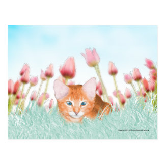 Floral Kitten Postcard