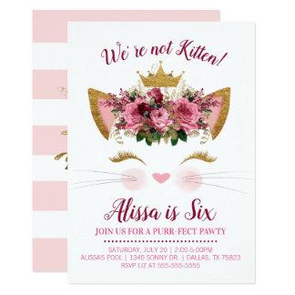 Floral Kitty Birthday Invitation | Gold Crown