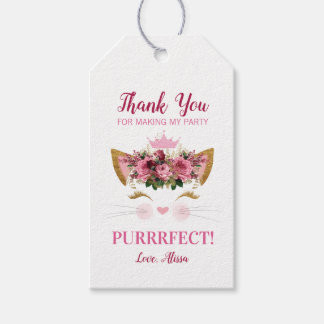 Floral Kitty Birthday Thank You Tag | Pink Crown