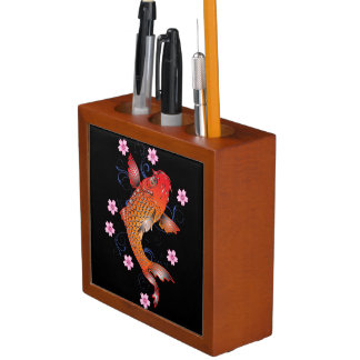 Floral koi carp desk organiser