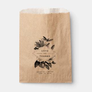 Floral Kraft Wedding Favor Thank You Favour Bags