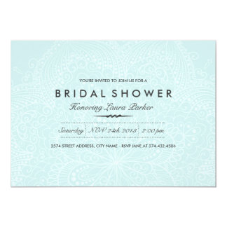 Floral Lace | Blue Bridal Shower Invitation