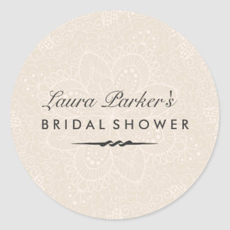 Floral Lace   Cream Bridal Shower Sticker