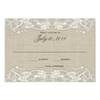 Floral Lace Design Wedding Response Card
