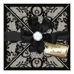 Floral Lace Invite with Diamond Bow 13 Cm X 13 Cm Square Invitation Card