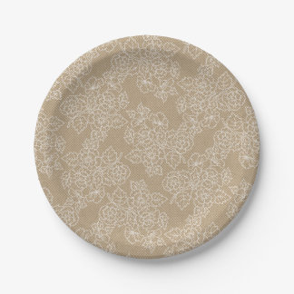 Floral Lace Kraft Custom Party Paper Plate