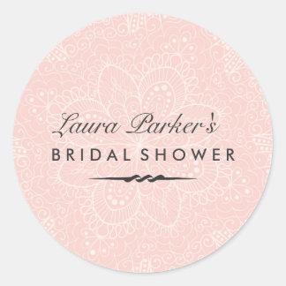 Floral Lace   Pink Bridal Shower Sticker