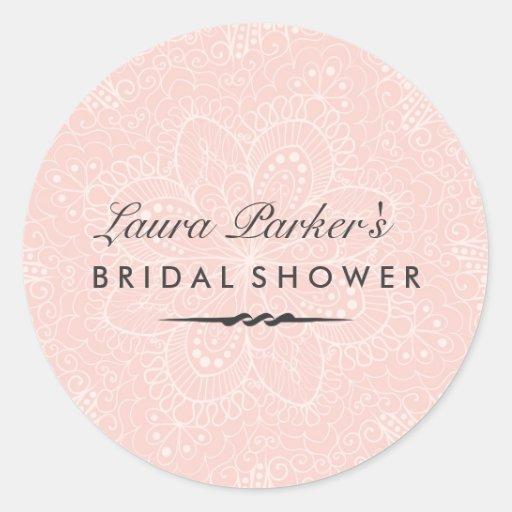 Floral Lace | Pink Bridal Shower Sticker