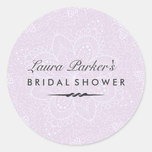 Floral Lace | Purple Bridal Shower Sticker