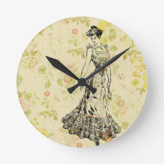 Floral Lady Round Clock