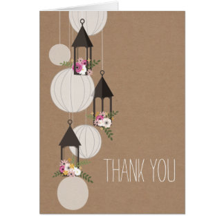 Floral Lanterns Cardstock Inspired Thank You Greeting Card