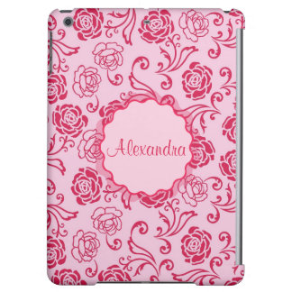 Floral lattice pattern of tea roses on pink name