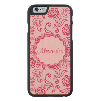 Floral lattice pattern of tea roses on pink name carved maple iPhone 6 case