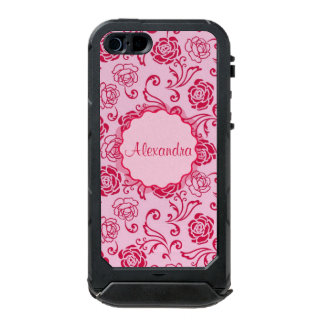 Floral lattice pattern of tea roses on pink name incipio ATLAS ID™ iPhone 5 case