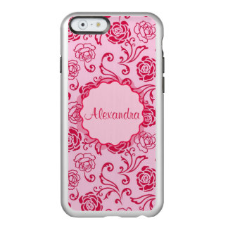 Floral lattice pattern of tea roses on pink name incipio feather® shine iPhone 6 case