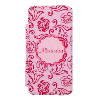 Floral lattice pattern of tea roses on pink name incipio watson™ iPhone 5 wallet case