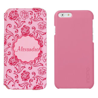 Floral lattice pattern of tea roses on pink name incipio watson™ iPhone 6 wallet case
