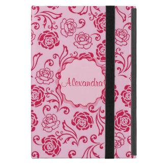 Floral lattice pattern of tea roses on pink name iPad mini cover