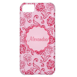 Floral lattice pattern of tea roses on pink name iPhone 5C case