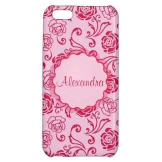Floral lattice pattern of tea roses on pink name iPhone 5C cases