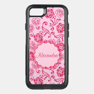 Floral lattice pattern of tea roses on pink name OtterBox commuter iPhone 8/7 case