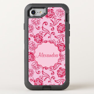 Floral lattice pattern of tea roses on pink name OtterBox defender iPhone 8/7 case