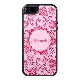 Floral lattice pattern of tea roses on pink name OtterBox iPhone 5/5s/SE case