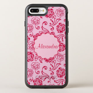 Floral lattice pattern of tea roses on pink name OtterBox symmetry iPhone 8 plus/7 plus case