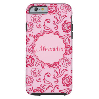 Floral lattice pattern of tea roses on pink name tough iPhone 6 case