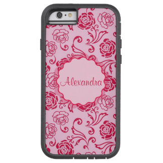 Floral lattice pattern of tea roses on pink name tough xtreme iPhone 6 case