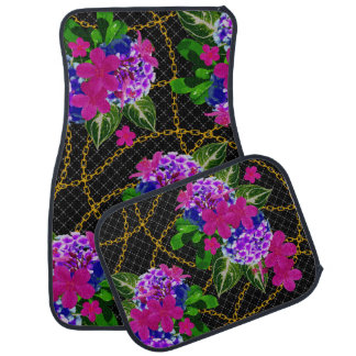 Floral Leaf and Chain Design Set of 4 Car Mats