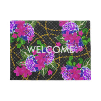 Floral Leaf and Gold Chain Door Mat