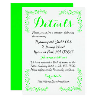 Floral Leaf Lime Green Wedding Details / Direction Card