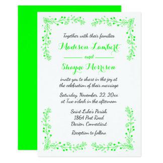 Floral Leaf Lime Green Wedding Leaves Card