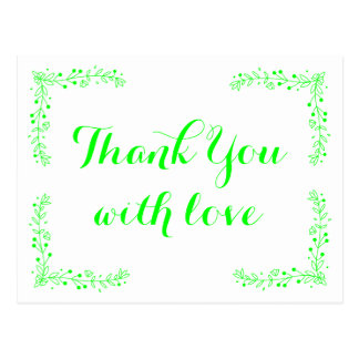 Floral Leaf Thank You Lime Green Wedding Leaves Postcard