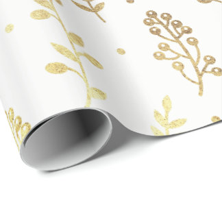 Floral Leafs Botanic White Faux Golden Foil VIP Wrapping Paper