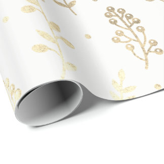 Floral Leafs Metallic White Faux Gold Delicate Wrapping Paper