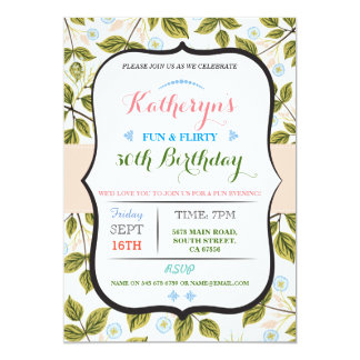 Floral Leaves 50th 40th Birthday party Invite