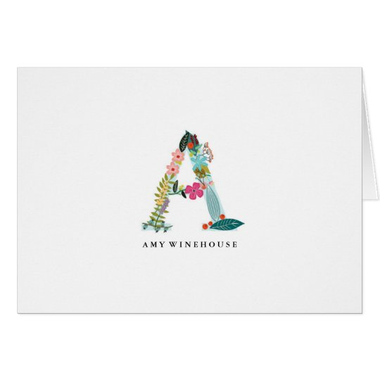 Floral Letter Monogram Initial - A - Folded Card