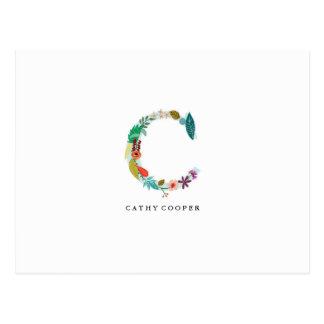 Floral Letter Monogram Initial - C - Flat Card