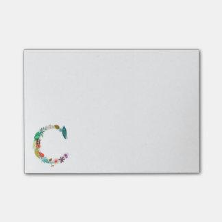Floral Letter Monogram Initial - C Post-it® Notes